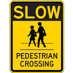 Slow Pedestrian Crossing Signs - 18x24 - Reflective Rust-Free Heavy Gauge Aluminum Parking Lot and Pedestrian Crosswalk Signs