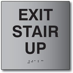 ADA Exit Stair Up Sign - 6x6 - Brushed Aluminum