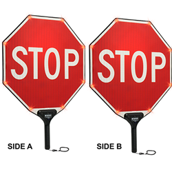 MUTCD Compliant 18X18 Flashing LED STOP Paddle Signs - Sign is High Intensity Prismatic (HIP) Reflective, Sign is made with durable Light-Weight Aluminum