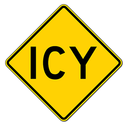 Icy Road Warning Signs - 24x24 - Regulation Reflective Rust-Free Heavy Gauge Aluminum Road Signs