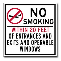 No Smoking Within 20 Feet Of Entrances And Exits And Operable Windows - 6x6 - Non-Smoking Area Signs