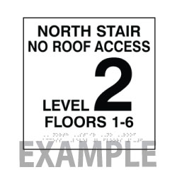 ADA Stairwell Floor Number Signs with Tactile Text and Braille - 12x12