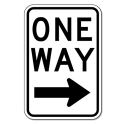 R6-2L One Way Signs With Right Arrow - 12X18 - Official MUTCD Reflective Rust-Free Heavy Gauge Aluminum Road Signs
