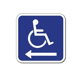 ADA Handicapped Wheelchair Accessible Symbol Signs - Left Arrow - 12x12 - Reflective Rust-Free Heavy Gauge Aluminum