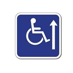 ADA Handicapped Wheelchair Accessible Signs with Ahead Arrow - 12x12  - Reflective Rust-Free Heavy Gauge Aluminum