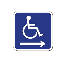 ADA Wheelchair Accessible Symbol Signs - Right Arrow - 12x12