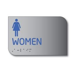 Designer ADA Womens Restroom Wall Sign with Female Pictograms and Tactile Text and Grade 2 Braille- 6x4 - Brushed aluminum is an attractive alternative to plastic ADA signs