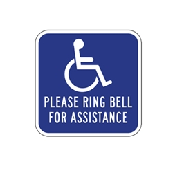 Please Ring Bell For Assistance Signs 12x12 - Reflective rust-free aluminum outdoor-rated Ring Bell For Assistance Signs