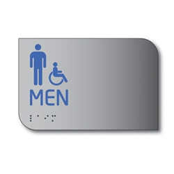 Designer ADA Mens Restroom Wall Sign with Male and Wheelchair Pictograms and Tactile Text and Grade 2 Braille- 6x4 - Brushed aluminum is an attractive alternative to plastic ADA signs