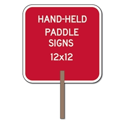 Custom Two-Sided Square Paddle Signs - 12x12 Custom Reflective Aluminum STOP Sign Paddles