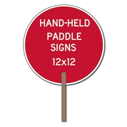 Custom Two-Sided Circle Shape Paddle Signs - 12x12 Custom Reflective Aluminum STOP Sign Paddles