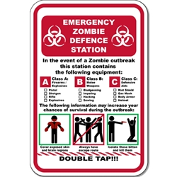 Zombie Preparedness Novelty Signs for Sale