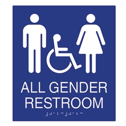 ADA Compliant All Gender Restroom Wall Signs Tactile Grade Braille - Ada compliant bathroom signs