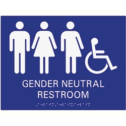 ADA Compliant Gender Neutral Wall Sign 12x9 Tactile Grade 2 Braille