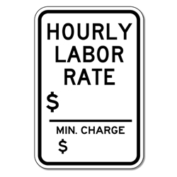 Vehicle Repair Hourly Labor Rate Sign Stopsignsandmore Com