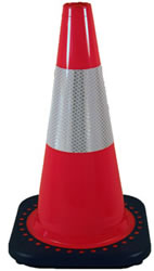 Traffic Safety Cones in Stock: 3 Pack of 18-Inch Bright Orange Traffic Safety Cones With Reflective Collars