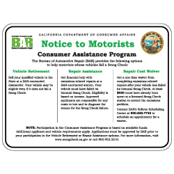 California Notice To Consumers Sign - 24x18