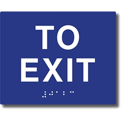 ADA Compliant To Exit Signs with Tactile Text and Grade 2 Braille - 5x4