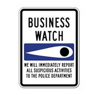 Business Crime Watch Eye Sign - 18x24 - Rust-free Heavy Gauge Reflective Aluminum