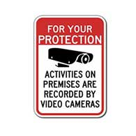For Your Protection Activities On Premises Recorded By Video Cameras Signs - 18x24- Reflective Rust-Free Heavy Gauge Aluminum Security Signs