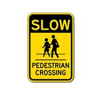 Slow Pedestrian Crossing Signs - 12x18- Reflective Rust-Free Heavy Gauge Aluminum Parking Lot and Pedestrian Crosswalk Signs