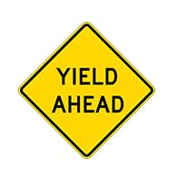YIELD Ahead Text Signs - 30x30- Regulation MUTCD Compliant Reflective YIELD Ahead Signs on Rust-Free Heavy Gauge Aluminum.
