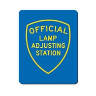 Official Lamp Adjusting Station Sign - Single-Faced - 24x30 - Reflective, heavy-gauge aluminum Lamp  Adjusting Station sign