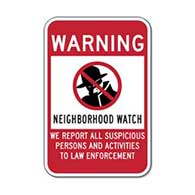 Neighborhood Watch Warning Sign - 12x18