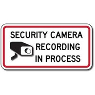 Security Camera Recording In Process Signs - 12x6 - Reflective aluminum Video Security Signs