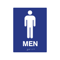 ADA Compliant Mens Restroom Wall Signs with Tactile Text Braille - 6x8
