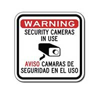 Warning Security Cameras In Use Sign - Aviso Camaras De Seguridad En El Uso - 12x12- Reflective Rust-Free Heavy Gauge Aluminum Bilingual Security Signs