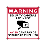 Warning Video Cameras In Use Signs - Aviso Camaras De Seguridad En El Uso Sign - 18x18 - Reflective Rust-Free Heavy Gauge Aluminum Bilingual Video Surveillance Signs