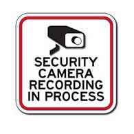 Security Camera Recording In Process Signs - 12x12 - Reflective aluminum Video Security Signs