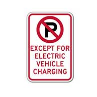 R113A No Parking (Symbol) Except For Electric Vehicle Charging Sign - 12x18 - Reflective Rust-Free Heavy Gauge Aluminum Electric Vehicle Parking Signs