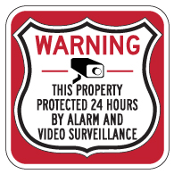 This Property Protected 24 Hours Shield Sign 18x18