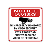 Bilingual Property Monitored By Video Security Signs - 18x18 - Reflective Rust-Free Heavy Gauge Aluminum Bilingual Video Surveillance Signs