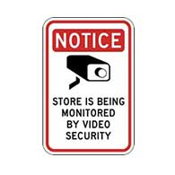Notice Store Is Being Monitored By Video Security Signs 12x18 - Reflective heavy-gauge .063 aluminum Store Security signs