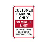 Customer Parking Only Sign - Choose Your Own Time Limit - 12x18