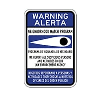 Bilingual English-Spanish Neighborhood Crime Watch Eye Signs- 12x18 - Reflective Rust-Free Heavy Gauge Aluminum Neighborhood Watch Signs