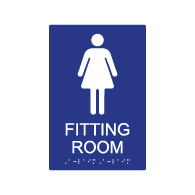 DA Compliant Female Fitting Room Sign with Tactile Text and Grade 2 Braille - 6x9