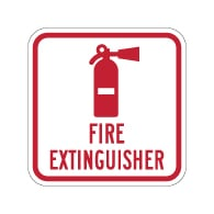 Fire Extinguisher Symbol with Text Sign - 12x12 - Reflective rust-free heavy-gauge aluminum Fire Extinguisher Location Signs