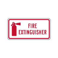 Fire Extinguisher Symbol with Text Sign - 12x6 - Reflective rust-free heavy-gauge aluminum Fire Extinguisher Location Signs