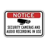Notice Security Cameras And Audio Recording In Use Sign - 18X12 - Reflective rust-free heavy-gauge aluminum Security Signs