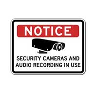Notice Security Cameras And Audio Recording In Use Sign - 24x18 - Reflective rust-free heavy-gauge aluminum Security Signs