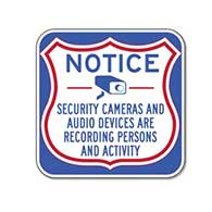 Notice Security Cameras And Audio Devices Are Recording Persons And Activity Sign - 18x18 - Reflective rust-free heavy-gauge aluminum Security Camera Signs