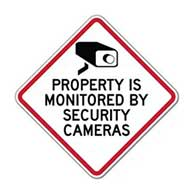 Property Is Monitored By Security Cameras Sign - 24x24 - Diamond-Shaped Reflective rust-free heavy-gauge aluminum Security Signs
