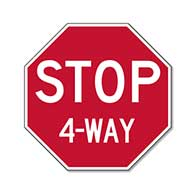 Intersection STOP Sign - 12x12 Choice of 2, 3, 4 or All Way
