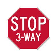 Intersection STOP Sign - 18x18 - Choice of 2, 3, 4 or All Way