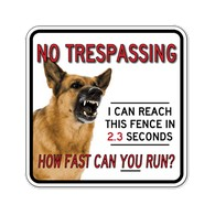 Buy No Trespassing Guard Dog Door Signs - 18x18 - Full-Color Reflective Rust-Free Aluminum Guard Dog Signs