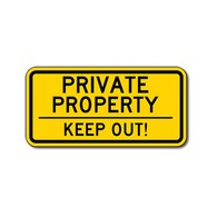 Private Property Keep Out Sign - 12x6 - Choose your colors and second message: Keep Out, No Trespassing, or No Soliciting. Constructed of durable rust-free aluminum this Keep Out sign is also Reflective and rated for 7-plus years of no-fade outdoor service